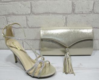 Комплект бална чанта и сандали текстил/сатен/ златисти