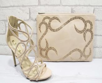 Комплект бална чанта и сандали текстил/сатен/ бежови