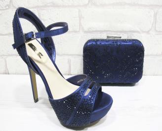 Комплект бална чанта и сандали текстил/сатен/ тъмно сини