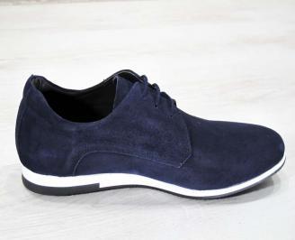 Мъжки спортно елегантни обувки естествен велур тъмно сини