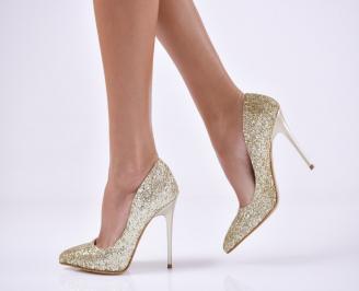 Дамски елегантни обувки на ток златисти еко кожа