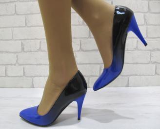 Дамски елегантни обувки на ток  еко кожа/лак тъмно сини
