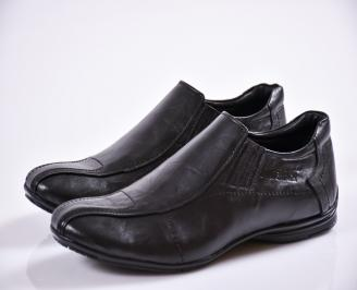 Мъжки спортно елегантни обувки черни естествена кожа