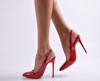 Дамски елегантни сандали еко кожа/лак червени