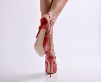 Дамски елегантни сандали еко кожа/лак червени 3