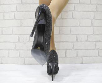 Дамски елегантни обувки на ток черни еко кожа 3