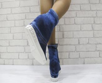 Дамски боти текстил сини 3