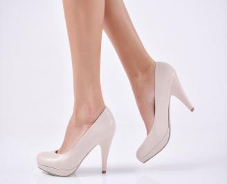 Дамски обувки на ток еко кожа бежови