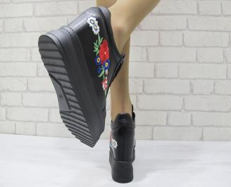 Дамски боти на платформа еко кожа черни 3