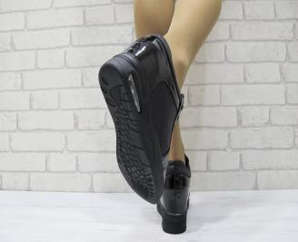 Дамски обувки  на платформа текстил+еко лак  черни 3
