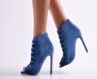 Дамски елегантни боти сини еко велур
