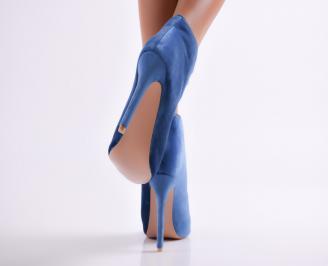Дамски елегантни боти сини еко велур 3