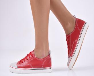 Дамски спортни обувки  червени еко кожа