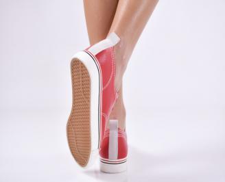 Дамски спортни обувки  червени еко кожа 3