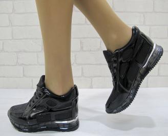 Дамски спортни обувки  черни  текстил/еко лак