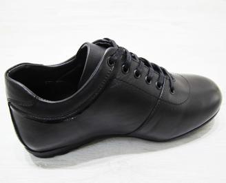 Мъжки спортно елегантни обувки естествена кожа черни 3