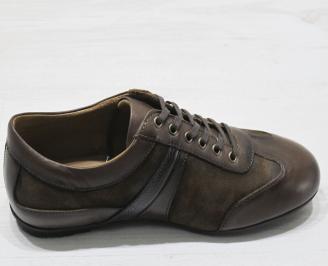 Мъжки спортно елегантни обувки естествена кожа кафяви 3