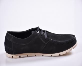 Мъжки спортно елегантни обувки естествен велур черни 3