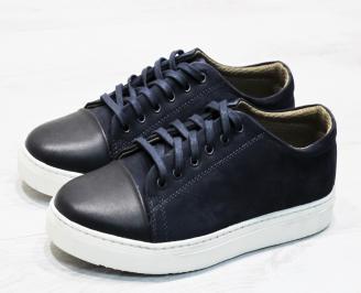 Мъжки спортно елегантни обувки естествен велур/естествена кожа тъмно сини