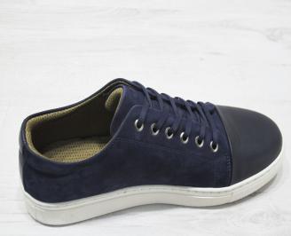 Мъжки спортно елегантни обувки естествен велур/естествена кожа тъмно сини 3