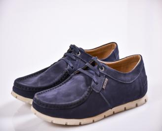 Мъжки обувки тъмно сини  велур