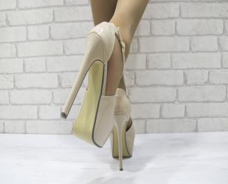 Дамски елегантни сандали еко кожа/лак бежови 3