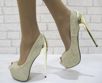 Дамски елегантни обувки текстил  златисти