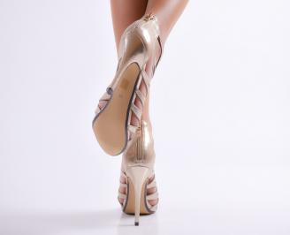 Дамски елегантни сандали текстил/сатен  златисти 3