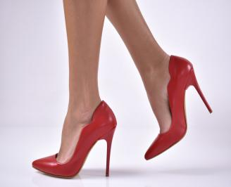 Дамски елегантни обувки на ток еко кожа червени