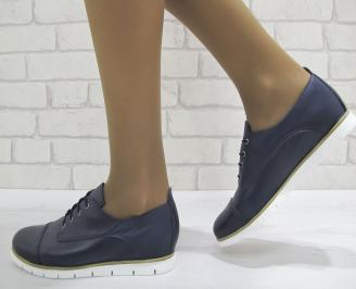 Дамски обувки естествена кожа тъмно сини