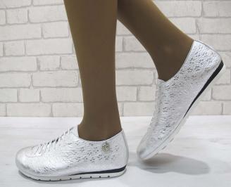 Дамски обувки от естествена кожа Гигант тъмно сребристи