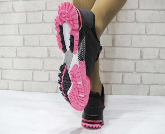 Дамски маратонки  Bulldozer еко кожа черно/розово 3
