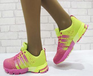 Дамски маратонки  Bulldozer текстил розово/жълти