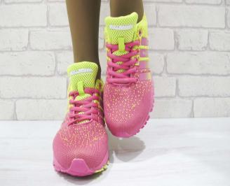 Дамски маратонки  Bulldozer текстил розово/жълти 3