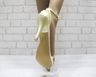 Дамски елегантни сандали  еко кожа златисти 3