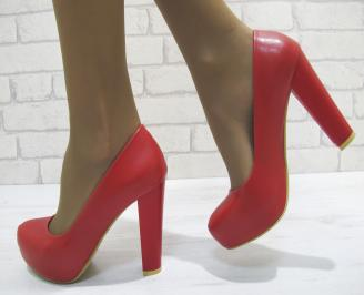 Дамски елегантни обувки  червени еко кожа