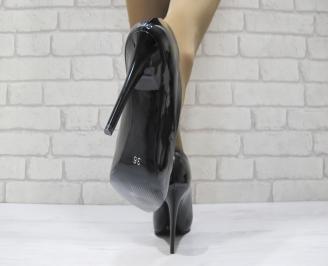 Дамски елегантни обувки на ток еко кожа/лак черни 3