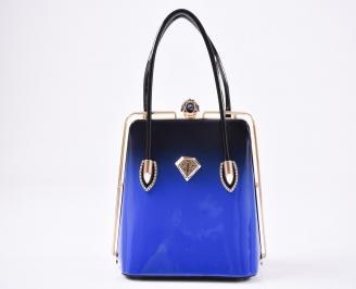 Дамска чанта еко кожа/лак черно /синя