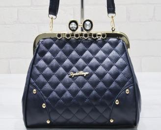 Дамска чанта  тъмно синя еко кожа