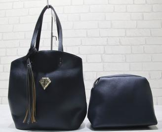 Дамска чанта еко кожа тъмно синя 3