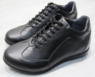 Мъжки спортно елегантни обувки-Гигант естествена кожа черни