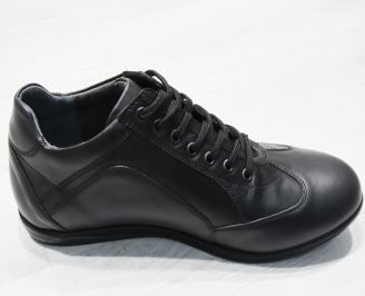 Мъжки спортно елегантни обувки-Гигант естествена кожа черни 3