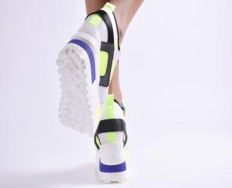 Дамски обувки на платформа  бели 3