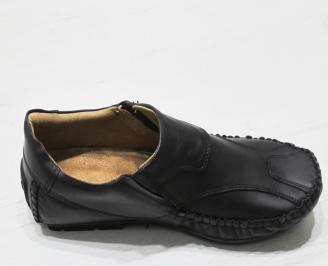 Мъжки обувки тип Мокасини от естествена кожа черни