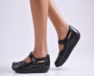 Дамски ежедневни обувки  черни естествена кожа