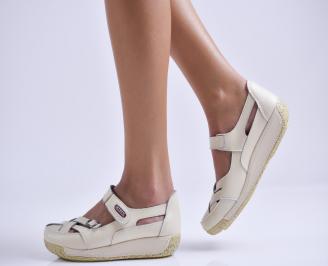 Дамски ежедневни обувки  бежови естествена кожа