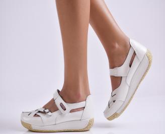 Дамски ежедневни обувки  бели естествена кожа