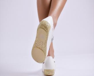 Дамски ежедневни обувки  бели естествена кожа 3