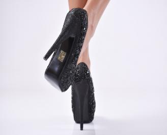 Дамски елегантни обувки еко кожа черни