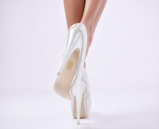 Дамски елегантни обувки еко кожа сребристи